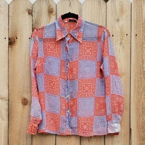 Vintage 1960s the Villager Western Paisley blouse